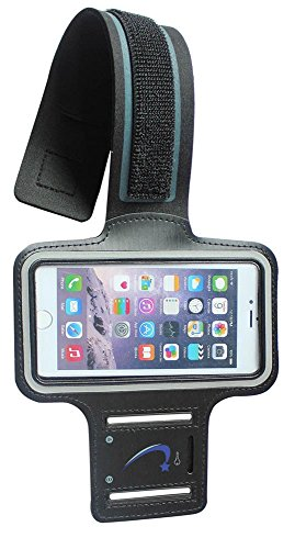 Cell Phone Armband: EDS2 Protective Slim Running sport Sweatproof Key slot Case BLACK for iPhone 6s, 6, 5, 5S, 5C, 4, 4S,/ iPod Nano Touch 3, 4, 5/ Samsung Galaxy S6, S5, S4, Edge, HTC ONE