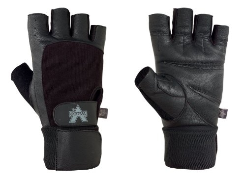 Valeo Competition Wrist Wrap Lifting Gloves With Durable Leather Construction, Reinforced Stitching, And Double Leather Padded Palms