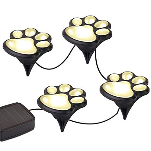 Sodoop Paw Print Solar Garden Lights,Set of 4 Solar Powered Lights,Dog Puppy Pet Animal Paws Design Outdoor Landscape Lighting for Lawn Decor,Gardening Landscaping Yard Pool Parties (Silver) (Best Landscaping For Dogs)