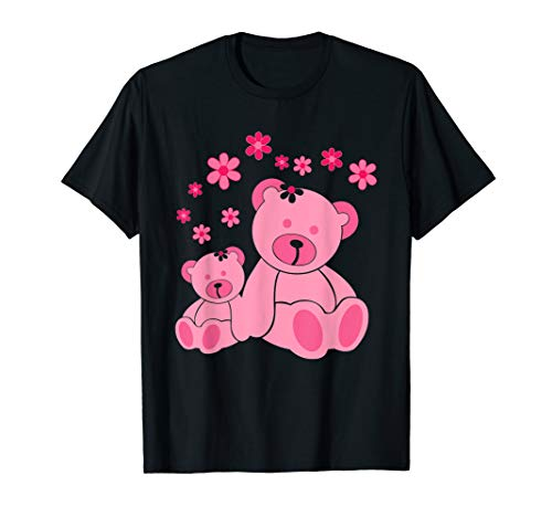 Very Cute Two Pink Teddies With Flowers T-Shirt