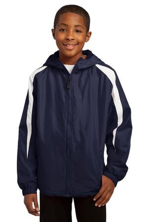 Sport-Tek Youth Fleece-Lined Colorblock Jacket, True Navy/White, XS by Sport-Tek
