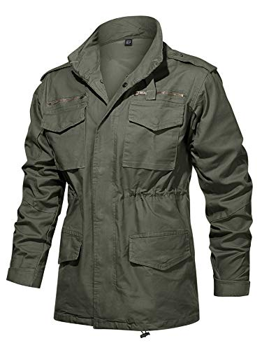 TACVASEN Men's Field Jacket Cotton Military Classic Vintage Concealed Hooded Coat