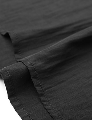 Courtes en Top Chemisier Femme BaiShengGT Blouse Mousseline Basique Noir Manches Col Soie de Lache V Pqdf04