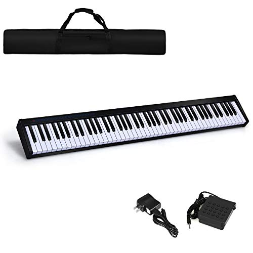 Best Prices! Costzon 88-Key Portable Digital Piano,Touch Sensitive Knocking Force Key Piano with Ext...