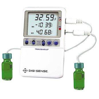 Digi-Sense Calibrated High-Accuracy Fridge/Freezer Thermometer, 2 Bottle Probes by Digi-Sense