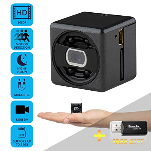 Mini Hidden Spy Camera - HD Secret Camera - 1080P Small Magnetic Security Camera - Nanny Cam with Night Vision and Motion Detection - Indoor/Outdoor Surveillance Camera for Home, Car, Office