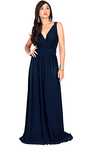 KOH KOH Women Long Sleeveless Flowy Bridesmaids Cocktail Party Evening Formal Sexy Summer Wedding Guest Ball Prom Gown Gowns Maxi Dress Dresses, Navy Blue M 8-10 (1)