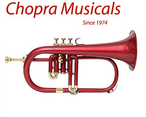 Flugel Horn 3 Valves Colored Red Brass Shinning Mounts Chopra Make Chopra Musicals