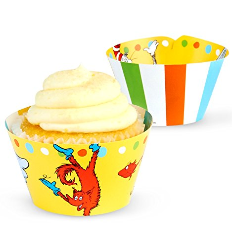 BirthdayExpress Dr Seuss Cat in The Hat Party Supplies - Cupcake Wrappers (12) ()