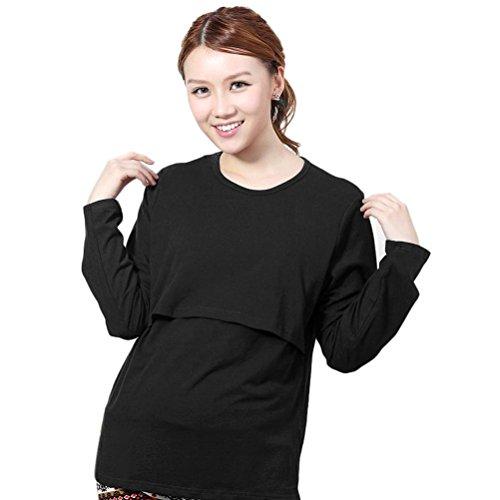 Maternity T-shirt Sweatshirt (Sunward Pregnant Maternity Clothes Nursing Top Breastfeeding Long Sleeve T-shirt (L,)