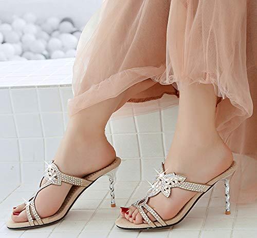 Abricot Talon Easemax Mules Sandales Spécial Stiletto Strass Femme Aiguille 8rW77qUtw