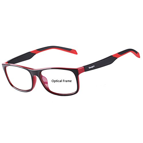 Eyewear Frames-Vseegrs Fashion Designer Rectangle Lightweight Non-Prescription Optical Eyeglasses Frame with Clear Lenses for Men Women (Red (Womens Optical Eyeglass Frame)