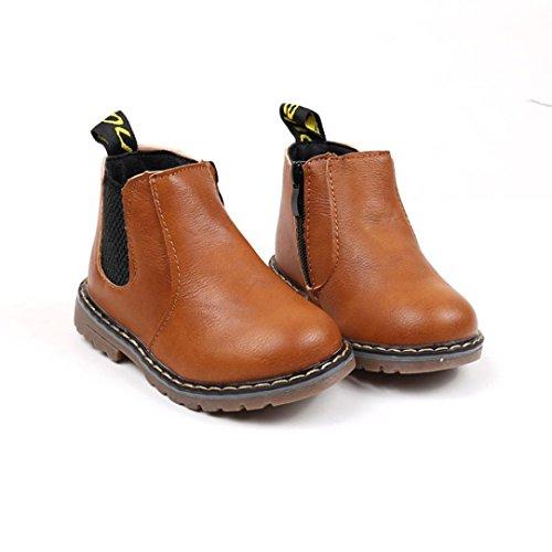 Transer® Kinder Schuhe Mädchen Jungen Flat Warm Walkingschuhe Sneakers Casual Autumn Winter Martin Stiefel mit Reißverschluss (Bitte eine Nummer größer bestellen) Braun