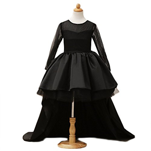 Vicokity Black Flower Girl Dresses With Back Bow High-Low Long Sleeve Kid's Dress For Weeding Gowns (7, Black)