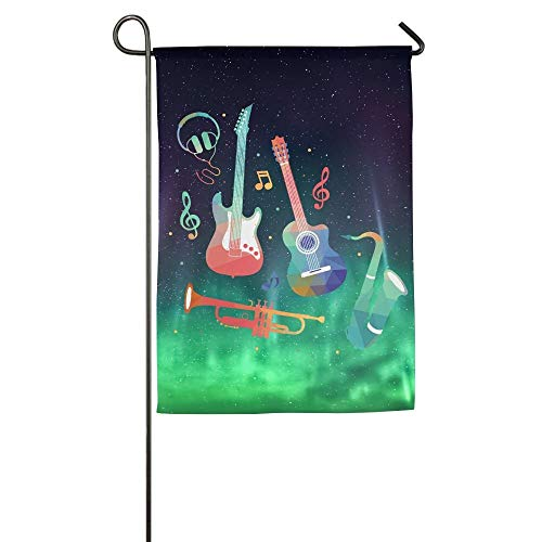 Watercolor Music Element Garden Flag Indoor & Outdoor Decorative Flags for Parade Sports Game Family Party Wall Banner 12x18 inches -