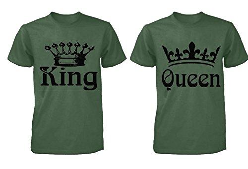fasciino Par playera a juego–Rey y la Reina Coronas (Verde Militar)