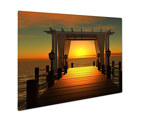 Ashley Giclee Wedding Gazebo On The Wooden Pier Into The Sea With The Sun At Sunset, Wall Art Photo Print On Metal Panel, Color, 16x20, Floating Frame, AG6047977 - Electrical Floating Canopy