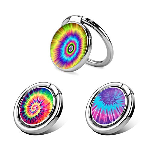 XIMALAYA 3 Pack Finger Phone Ring Holder Stand, 360° Rotation Durable Thin Universal Ring Buckle Grip Kickstand for iPhone, Samsung, LG, Google, Moto, Smartphones Tablets-Tie Dye Series