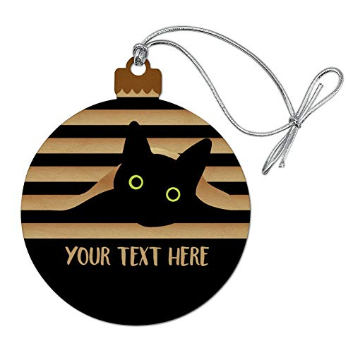GRAPHICS & MORE Personalized Custom Black Cat in Window 1 Line Wood Christmas Tree Holiday Ornament Black Christmas Holiday Ornaments