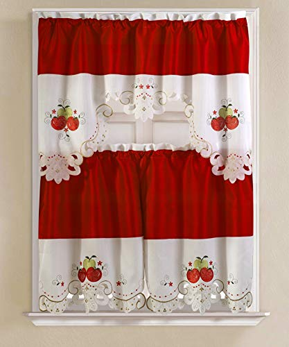 RT Designers Collection Tier and Valance Noble Embroidered Tier & Valance Kitchen Curtain Set, Apple