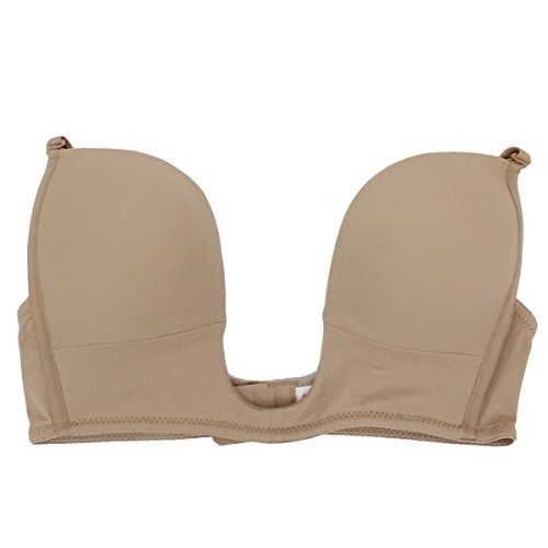 Fullness V Bra Push Up Deep Plunge Max Cleavage Convertible Straps 40D Beige