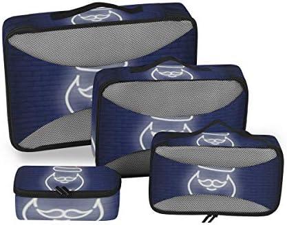 ブルーライトサンタクロース荷物パッキングキューブオーガナイザートイレタリーランドリーストレージバッグポーチパックキューブ4さまざまなサイズセットトラベルキッズレディース