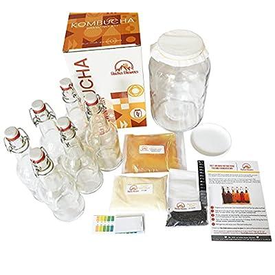Bucha Brewers Deluxe Kombucha Starter Kit with Kombucha SCOBY & Starter Tea, Full Kombucha Kit with Bottles Swing Top…