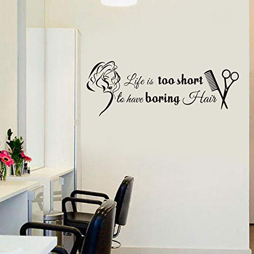 MoharWall Barber Shop Decal Hair Stylish Wall Sticker Quotes Vinyl Art Women Hair Nail Salon Signboard Décor