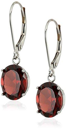 14K Gold Oval Gemstone Dangle Leverback Earrings (Garnet Ring White Gold Jewelry)