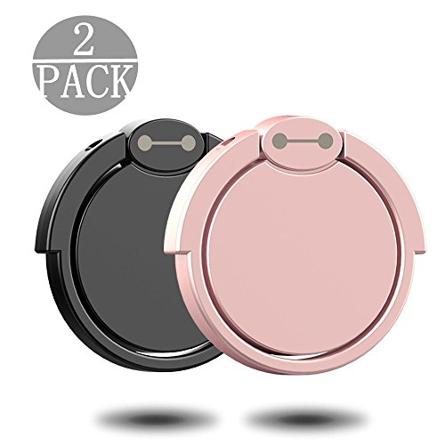 (2 Pack) Finger Ring Stand 2 Pack, 360° Rotary Cell Phone Adjustable Ring Stand Grip Mount Kickstand for iPhone X 8/8 Plus, Galaxy S8/S8 Plus and Almost All Cases/Phones (Black+Rose Gold)