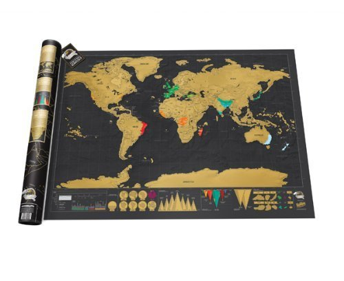 STW - World Map - Black with Golden Coating - Large 32.5 x 23.4 Inches World Interactive Travel Poster - Bright Colors Deluxe Edition