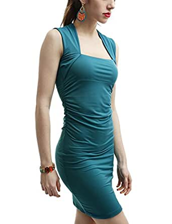 Doublju Women Fitted Dress with Square Neck Line