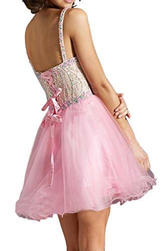 Vienna Bride Women Sweetheart Beaded Spaghetti Strap Cocktail Club Short Dress-26W-Pink - Beaded Strap Charmeuse Dress