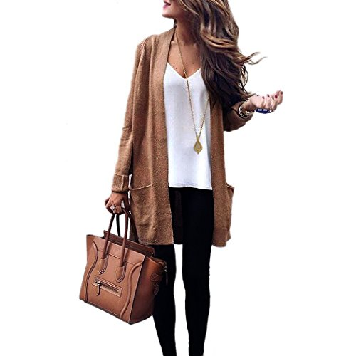 Guandoo Women Autumn Winter Cardigan Casual Sweater Long Sleeve Knitted Pockets