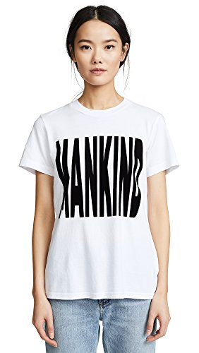 7 For All Mankind Women's Mankind Baby Tee, White/Black, (7 For All Mankind Tops)
