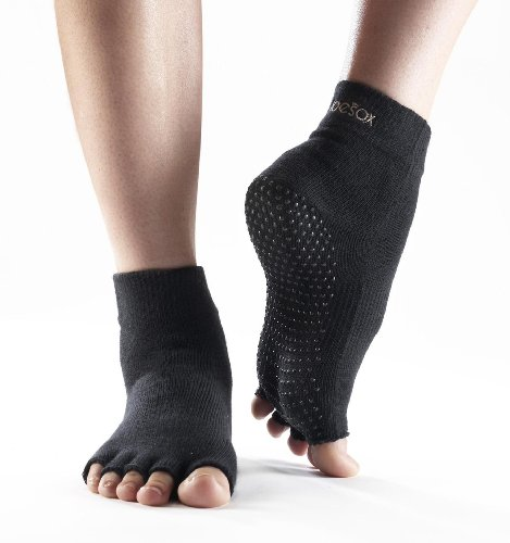 ToeSox Half Toe Yoga/Pilates Toe Socks With Grips, Black, Medium