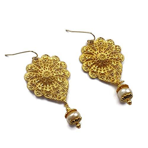- 22k Gold Plated Pewter Earrings, Filigree Flowers, Glass Pearls, Wedding Jewelry, Prom, Heirloom