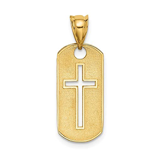 14k Yellow Gold Cut-Out Cross Dog Tag Pendant.98x.39 Inches (25x10 MM)