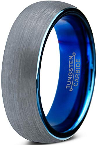 Charming Jewelers Tungsten Wedding Band Ring 6mm for Men Women Comfort Fit Blue Round Domed Brushed Size -