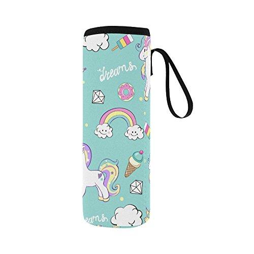 Silly Meow Beautiful Unicorns With Diamond Ice Crea Custom 2.75 Oz Neoprene Water Bottle Sleeve (Large Size) by InterestPrint