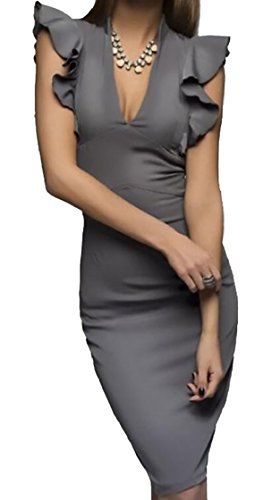 Midi Work Neck Dress Women's Pencil Sheath Deep V Ruffle Grey Business Jaycargogo qp6xwgzw