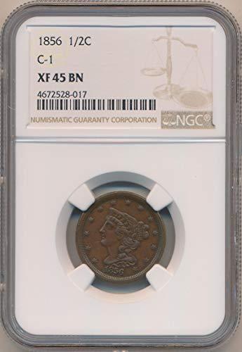 1856 P Half Cent Half Cent XF45 Brown NGC ()