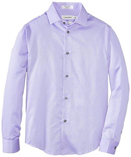 Calvin Klein Big Boys' Long Sleeve Sateen Hanging Shirt, Purple, 14