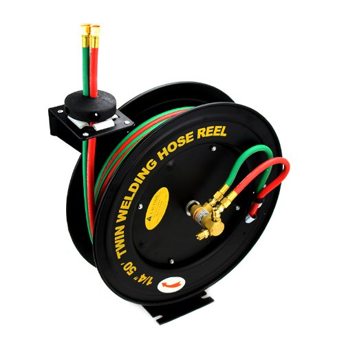 XtremepowerUS Auto-Rewind Retractable 50-Ft x 1/4-Inch Twin Welding Hose Reel with Rubber - Twin Welding Hose