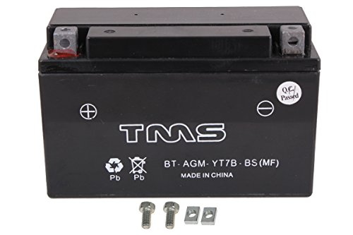 TMS AGM ATV Battery Yt7b-bs Yt7b-4 for Suzuki Drz400 E/s/sm 00-09 Yamaha Yfz450 04-09 450x Ds450 TTR 250 225 Zuma Yw 125 Triumph Daytona 675 - Daytona 250