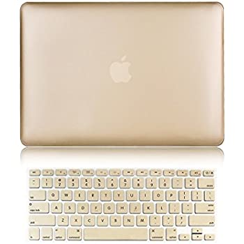 """Versality Perfect Fit Hard Case Cover for MacBook Air 13.3"""" (Model: A1369 / A1466) and Matching Keyboard Cover in Champagne Gold Metallic"""