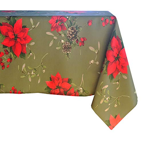 - Newbridge Peaceful Poinsettia Allover Print Christmas Fabric Tablecloth, Holly Berry Xmas Print Cloth Tablecloth, 60 Inch x 84 Inch Oval, Green