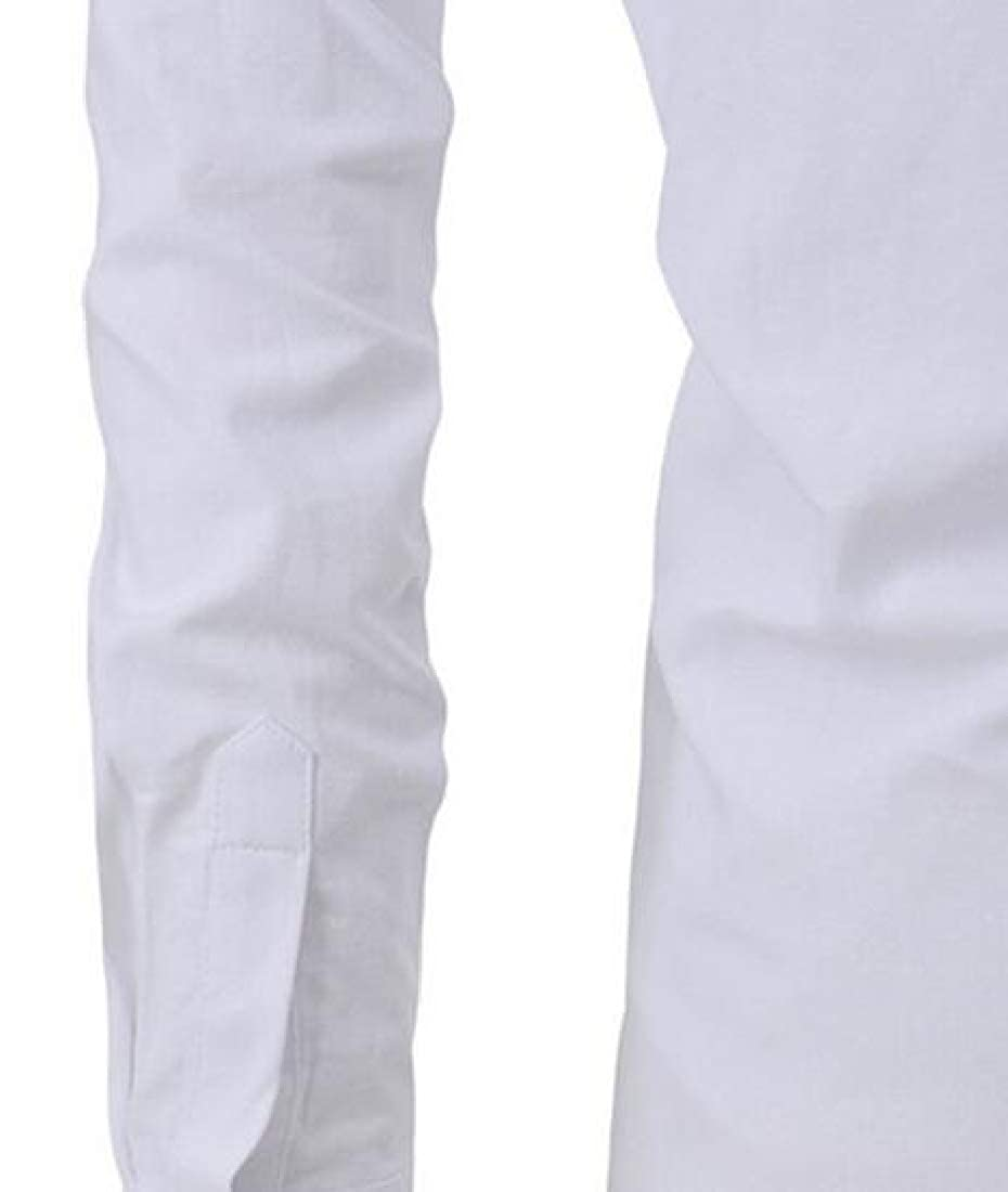 Jotebriyo Mens Casual Business Solid Slim Long Sleeve V-Neck Dress Henley Shirts