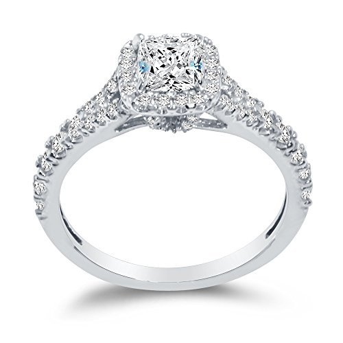 (Sterling Silver Cushion CZ Engagement Ring Split Shank Band Graduated Halo Round Sidestones 3/4 cttw.50ct Center)