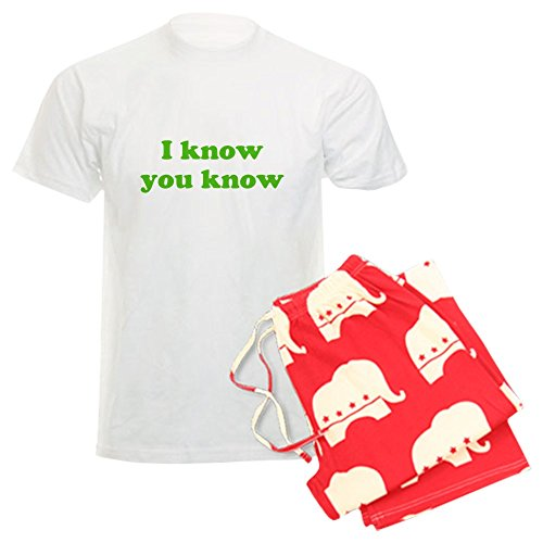 CafePress - I know you know Men's Light Pajamas - Unisex Novelty Cotton Pajama Set, Comfortable PJ Sleepwear